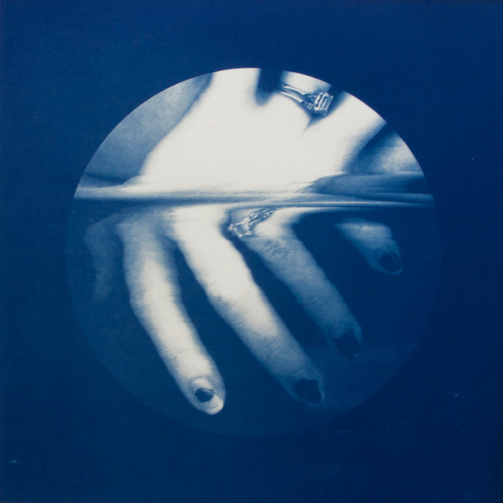 Hand #1, Lynné Bowman Cravens, Hand-coated cyanotype print, 10 x 10 inches, 2015