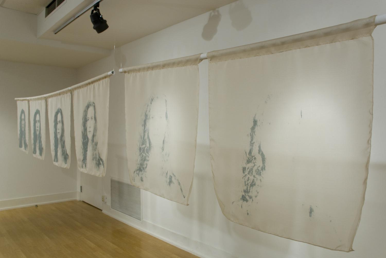 Portrait of a Woman, Lynné Bowman Cravens, Silk Screen on Silk Organza, 160 x 24 x 2 inches, 2015